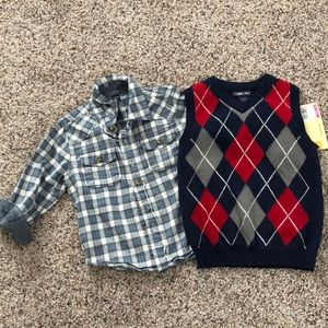 ⭐️BUNDLE⭐️ babyGap 3T button down & Cherokee vest